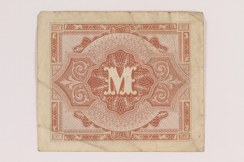 2013.442.27 back Allied Military Authority currency, 1 mark, for use in Germany, acquired by a US soldier