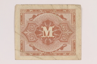 2013.442.27 back Allied Military Authority currency, 1 mark, for use in Germany, acquired by a US soldier  Click to enlarge