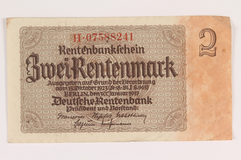 2013.442.29 front Nazi Germany, 2 Rentenmark note acquired by a US soldier