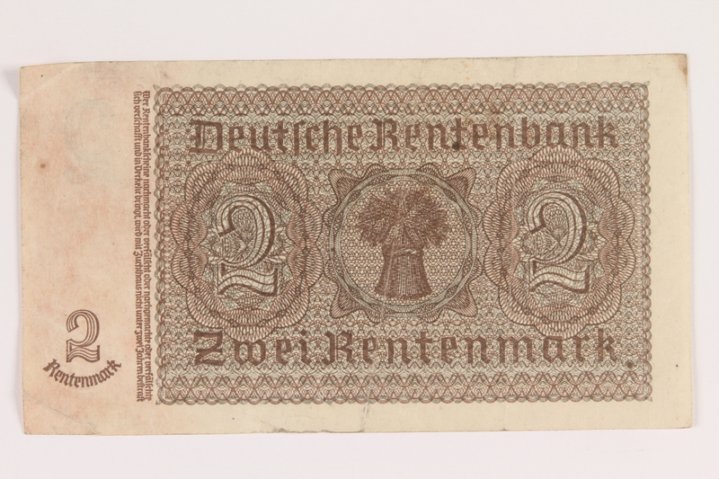 2013.442.29 back Nazi Germany, 2 Rentenmark note acquired by a US soldier
