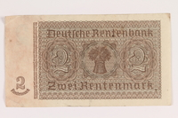 2013.442.29 back Nazi Germany, 2 Rentenmark note acquired by a US soldier  Click to enlarge