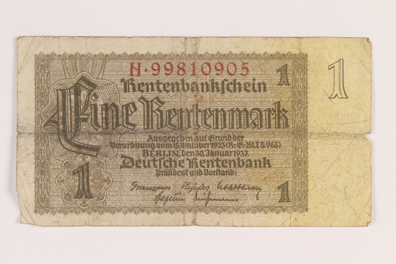 2013.442.30 front Nazi Germany, 1 Rentenmark note acquired by a US soldier