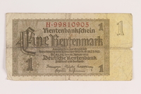 2013.442.30 front Nazi Germany, 1 Rentenmark note acquired by a US soldier  Click to enlarge