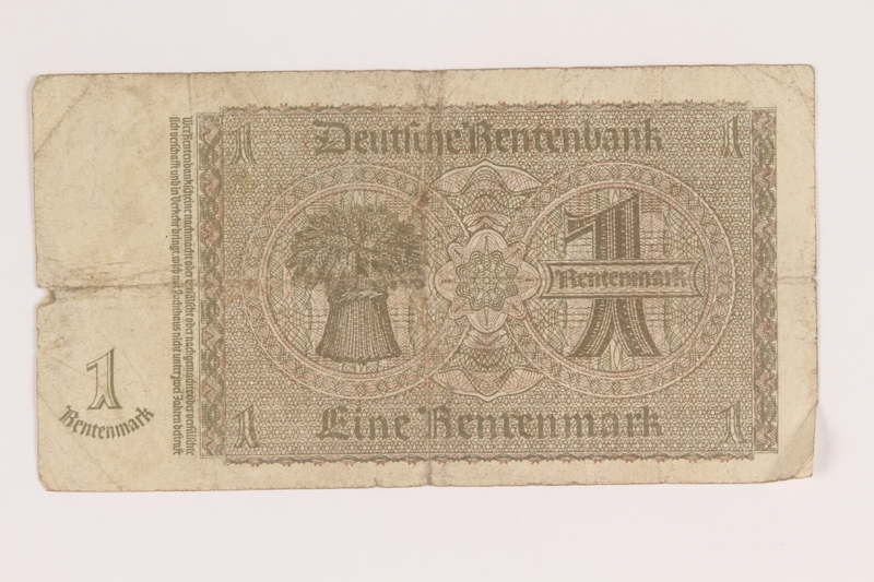 2013.442.30 back Nazi Germany, 1 Rentenmark note acquired by a US soldier