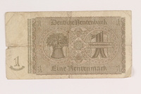 2013.442.30 back Nazi Germany, 1 Rentenmark note acquired by a US soldier  Click to enlarge