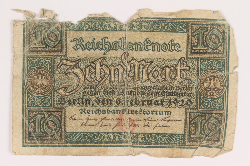 2013.442.31 front Weimar Germany, 10 mark note acquired by a US soldier