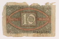 2013.442.31 back Weimar Germany, 10 mark note acquired by a US soldier  Click to enlarge