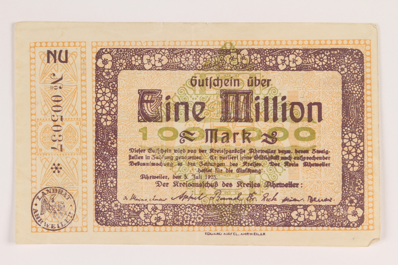 2013.442.32 front Ahrweiler District, Weimar Germany, 1 million mark note, acquired by a US soldier