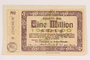 Ahrweiler District, Weimar Germany, 1 million mark note, acquired by a US soldier