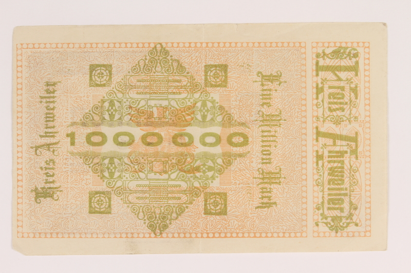 2013.442.32 back Ahrweiler District, Weimar Germany, 1 million mark note, acquired by a US soldier