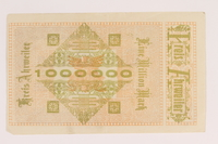 2013.442.32 back Ahrweiler District, Weimar Germany, 1 million mark note, acquired by a US soldier  Click to enlarge