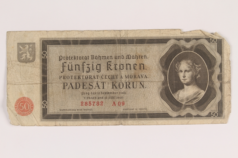 2013.442.33 front Germany, occupation currency, 50 crowns, issued in the Protectorate of Bohemia and Moravia acquired by a US soldier