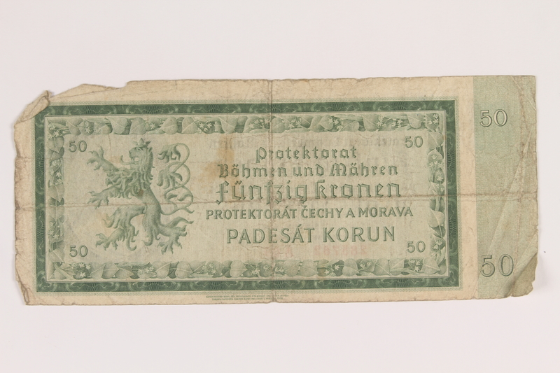 2013.442.33 back Germany, occupation currency, 50 crowns, issued in the Protectorate of Bohemia and Moravia acquired by a US soldier