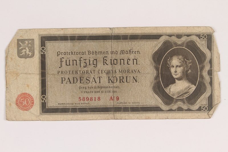 2013.442.34 front Germany, occupation currency, 50 crowns, issued in the Protectorate of Bohemia and Moravia acquired by a US soldier