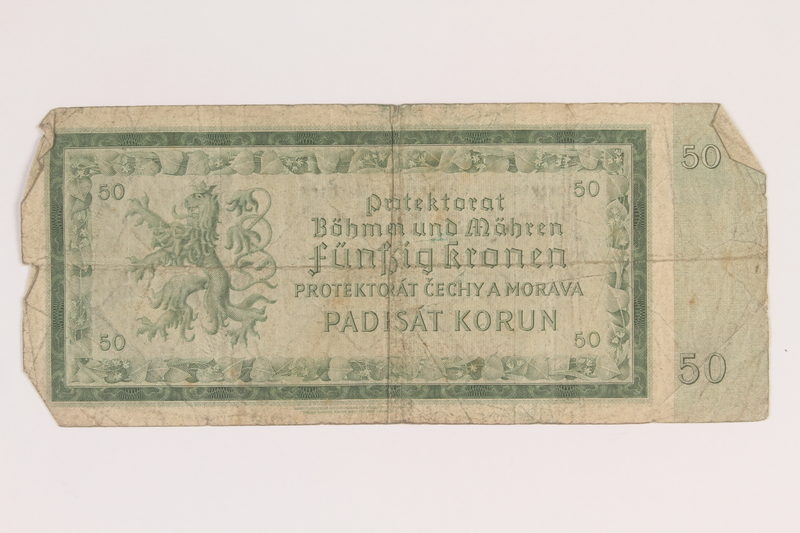 2013.442.34 back Germany, occupation currency, 50 crowns, issued in the Protectorate of Bohemia and Moravia acquired by a US soldier