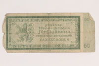 2013.442.34 back Germany, occupation currency, 50 crowns, issued in the Protectorate of Bohemia and Moravia acquired by a US soldier  Click to enlarge