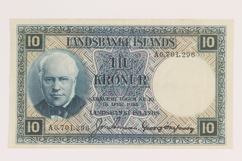 2013.442.39 front Iceland, 10 kronur, acquired by a US soldier
