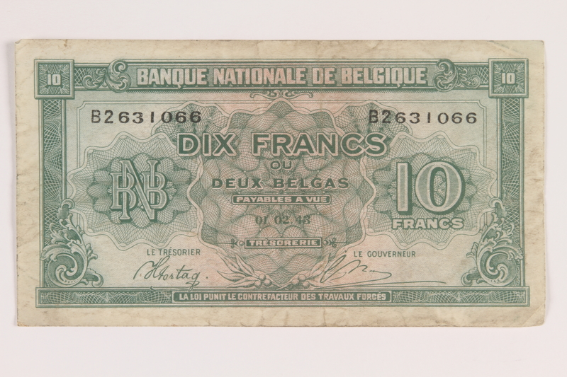 2013.442.41 front Belgium, 10 francs or 2 belga note, acquired by a US soldier