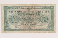 2013.442.41 front Belgium, 10 francs or 2 belga note, acquired by a US soldier  Click to enlarge