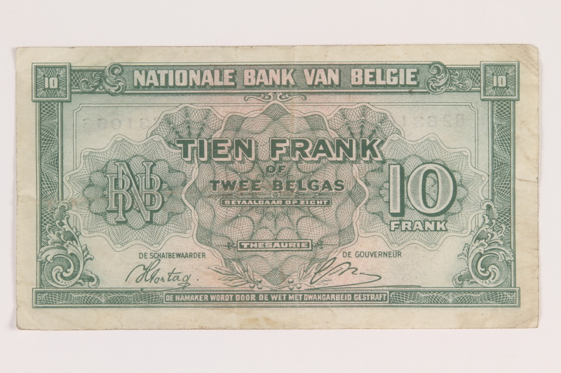 2013.442.41 back Belgium, 10 francs or 2 belga note, acquired by a US soldier