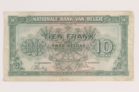 2013.442.41 back Belgium, 10 francs or 2 belga note, acquired by a US soldier  Click to enlarge