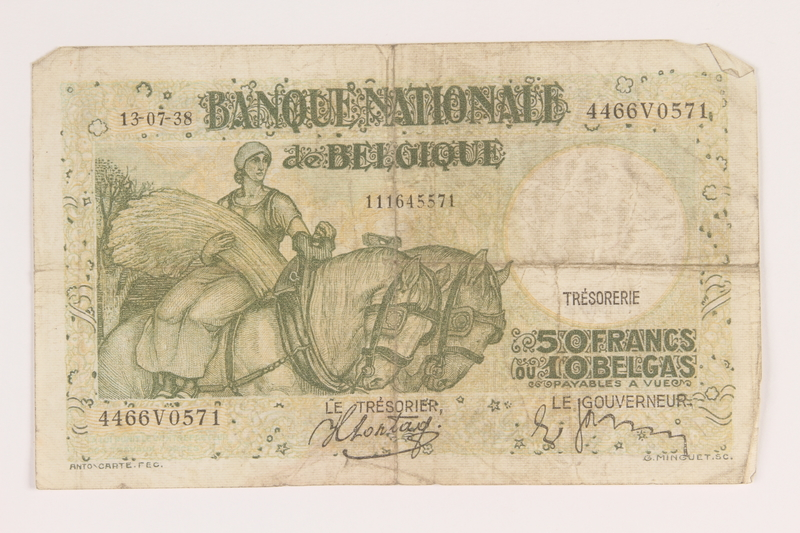 2013.442.42 front Belgium, 50 francs or 10 belga note, acquired by a US soldier