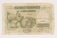 2013.442.42 front Belgium, 50 francs or 10 belga note, acquired by a US soldier  Click to enlarge