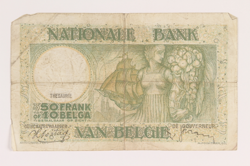 2013.442.42 back Belgium, 50 francs or 10 belga note, acquired by a US soldier