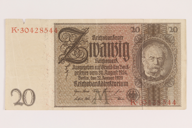 2013.442.43 front Weimar Germany, 20 mark note, acquired by a US soldier