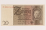 Weimar Germany, 20 mark note, acquired by a US soldier