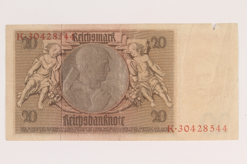 2013.442.43 back Weimar Germany, 20 mark note, acquired by a US soldier