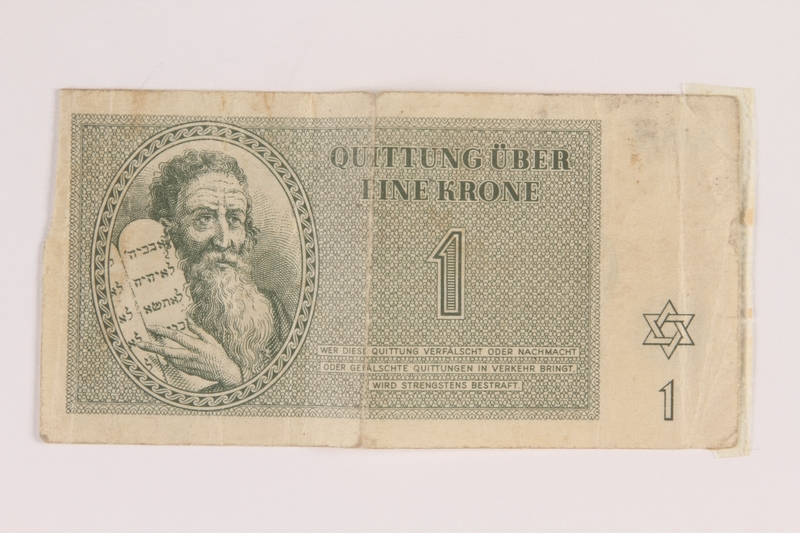 2013.453.3 front Theresienstadt ghetto-labor camp scrip, 1 krone note, acquired by a US soldier