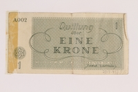 2013.453.3 back Theresienstadt ghetto-labor camp scrip, 1 krone note, acquired by a US soldier  Click to enlarge
