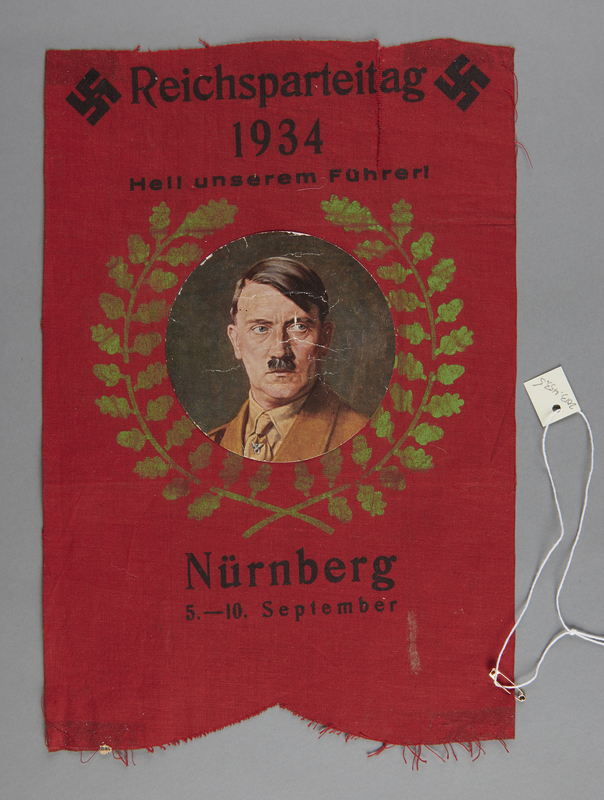 2013.453.5 front Small Nazi Party Rally banner with an image of Hitler acquired by a US soldier