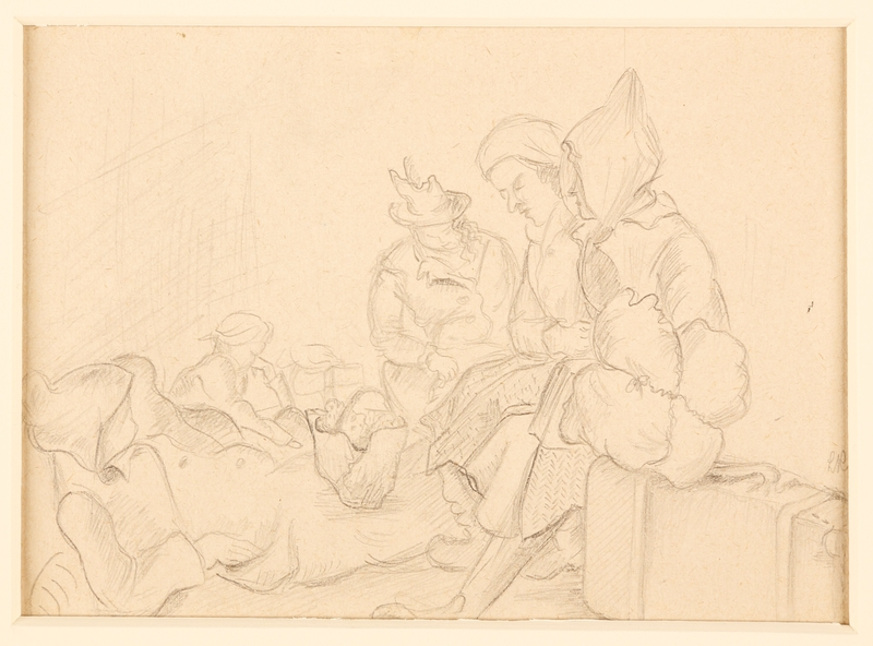 1988.1.2 front Drawing of seated women waiting for transport by a German Jewish internee