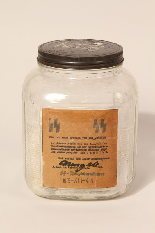 1993.99.1 front Jar containing bars of soap presented to an employee at the American Victory Foundation