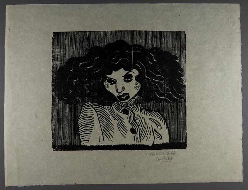 1994.10.2 front Otto Pankok woodcut of a Sinti woman in a striped dress