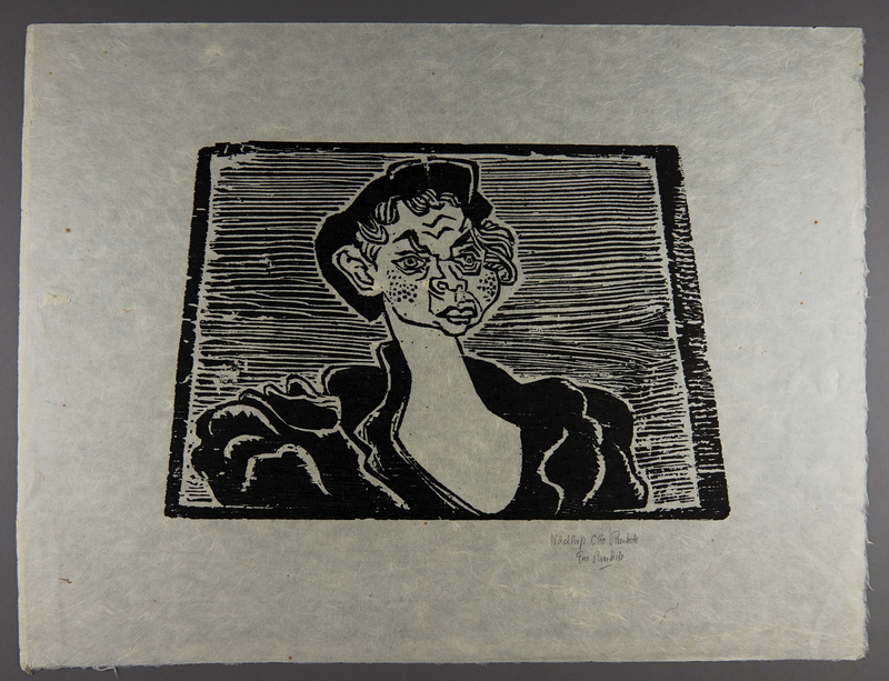 1994.10.3 front Otto Pankok woodcut of a Sinti woman with freckles