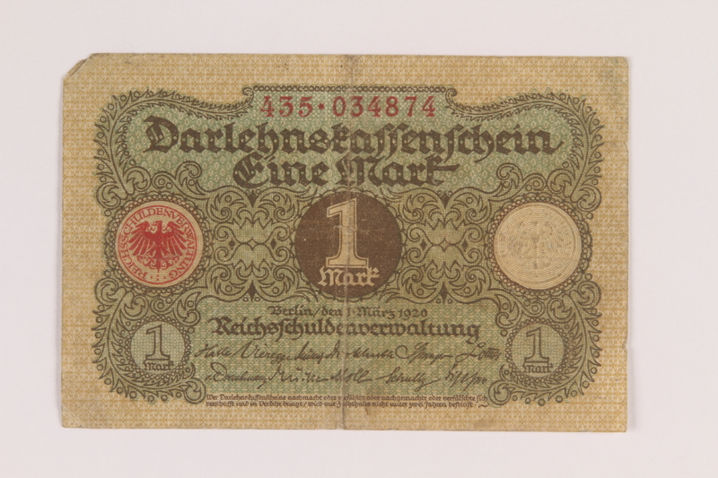2013.455.2 front Imperial Germany, Darlehnskassenschein [State Loan Office] 1 mark note from the album of a Waffen-SS officer acquired by an American soldier