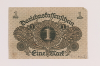 2013.455.2 back Imperial Germany, Darlehnskassenschein [State Loan Office] 1 mark note from the album of a Waffen-SS officer acquired by an American soldier  Click to enlarge