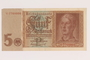 Nazi Germany, 5 mark note from the album of a Waffen-SS officer acquired by an American soldier