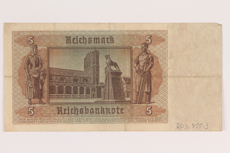 2013.455.3 back Nazi Germany, 5 mark note from the album of a Waffen-SS officer acquired by an American soldier
