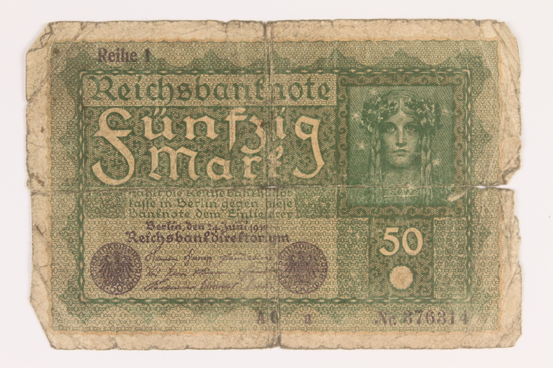 2013.455.4 front Imperial Germany, 50 mark note, series 1, from the album of a Waffen-SS officer acquired by an American soldier