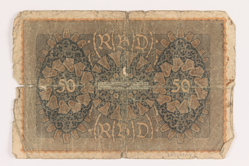 2013.455.4 back Imperial Germany, 50 mark note, series 1, from the album of a Waffen-SS officer acquired by an American soldier