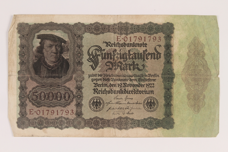2013.455.5 front Weimar Germany, 50000 mark note, from the album of a Waffen-SS officer acquired by an American soldier