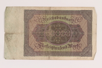 2013.455.5 back Weimar Germany, 50000 mark note, from the album of a Waffen-SS officer acquired by an American soldier  Click to enlarge