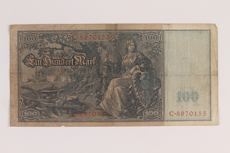 2013.455.6 back Imperial Germany Reichsbanknote, 100 mark note, from the album of a Waffen-SS officer acquired by an American soldier