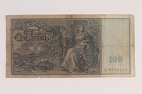 2013.455.6 back Imperial Germany Reichsbanknote, 100 mark note, from the album of a Waffen-SS officer acquired by an American soldier  Click to enlarge