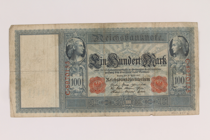 2013.455.6 front Imperial Germany Reichsbanknote, 100 mark note, from the album of a Waffen-SS officer acquired by an American soldier