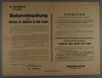 1994.108.11 front Police Order (Polizeileche Anordnung) regarding formation of a new Jewish quarter in the city of Przemysl  Click to enlarge